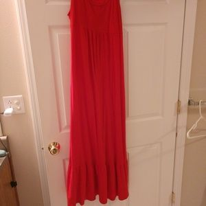 Long red maternity dress